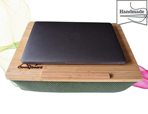 Cloudyboard Laptray Knietablett Laptop-Kissen Notebook mit Kissen aus Bambusholz (Grün Punkte) -