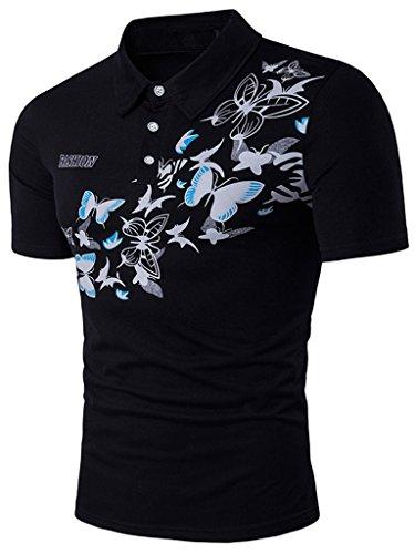 Whatlees Herren Urban Basic schmale Passform Polohemd mit Bunt Druckmuster und Stickerei B523-Black