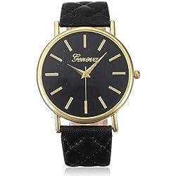 Ularmo Fashion Women Geneva Roman PU Leather Band Analog Quartz Wrist Watch Black