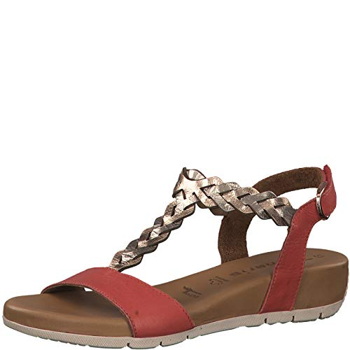 Tamaris 1-1-28231-22 Damen Riemchensandale,Sandale,Sandalette,Sommerschuh,bequem,flach,Touch-IT,RED Comb,40 EU - Red Womens Keil