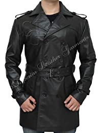 Sweeney Todd Mens Vintage Brown Leather Jacket Trench Coat