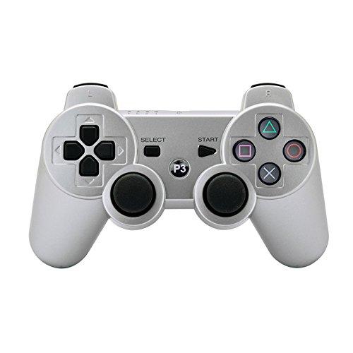 3 Fernbedienung-ladegerät Playstation (: ameego tragbar Doppelter vibrierender Wireless wiederaufladbar Bluetooth Gamepad Fernbedienung Joystick Controller Gamepad für PlayStation 3PS3)
