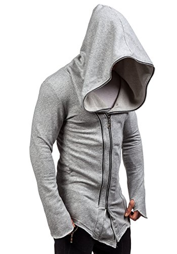 BOLF Herren Kapuzenpullover Sweatjacke mit Kapuze Sweatshirt Pullover Hoodie Lang Mix 1A1 Grau_2036-1