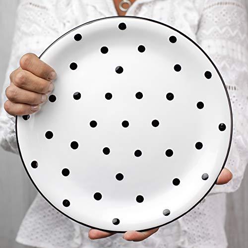 City to Cottage   Assiette plate   blanche à pois noirs en céramique faite et peinte à la main   25,5cm