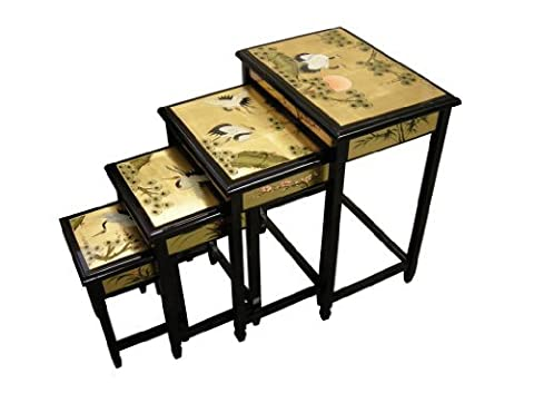 Chinese Oriental Furniture - Gold Leaf Nest of Tables, Cranes by China Warehouse Direct