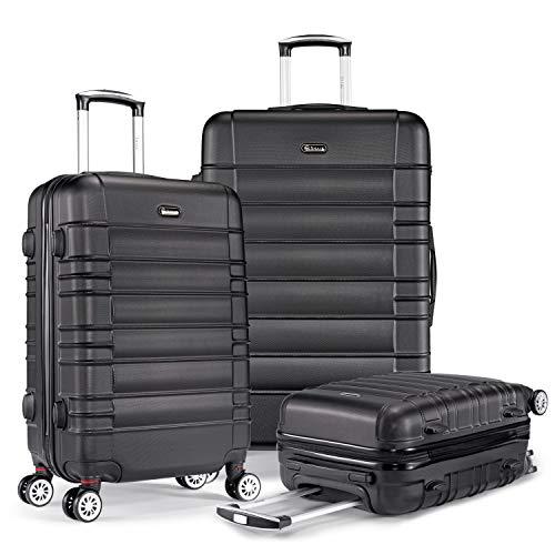 SHAIK SerieCLASSIC JFK Design Hartschalen Trolley, Koffer, Reisekoffer 4 Doppelrollen Zwillingsrollen, Zahlenschloss (Set, Schwarz)