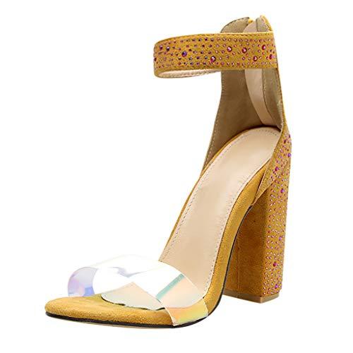 SHE.White Damen Sandaletten High Heels Blockabsatz mit Strass Peep Toe Sandalen Knöchel Schnalle Abend Party Freizeit Hochzeit Sommer Schuhe