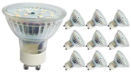 10x greenandco® CRI90+ LED Spot 4000K neutralweiß ersetzt 50 Watt GU10 Halogenstrahler, 5W 430 Lumen SMD LED Strahler 110° 230V AC Glas mit Schutzglas, flimmerfrei, nicht dimmbar, 2 Jahre Garantie