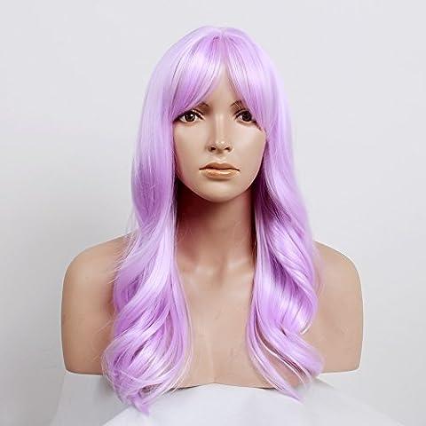 stfantasy Perücken für Frauen Lang Gewellt hitzbeständige Kunsthaar 58,4cm 243G mit Pony Wig peluca frei Hair Net + Clips, Light Purple