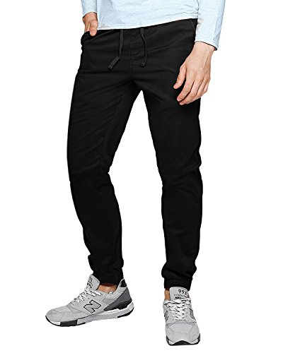 MODCHOK Herren Chino Jogginghose Sweatpants Jogging Freizeithose Cotton Hose Stoffhose (M, Schwarz 1)