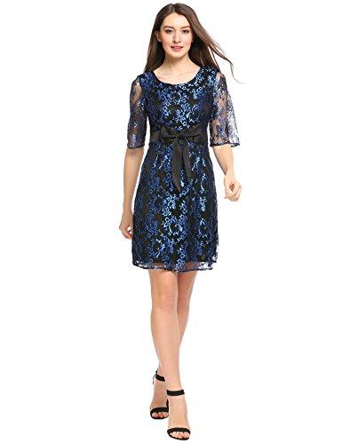 Beyove Damen Kleider Spitzenkleid Abendkleid knielang mit Schmetterling Knoten (XL, Blau)