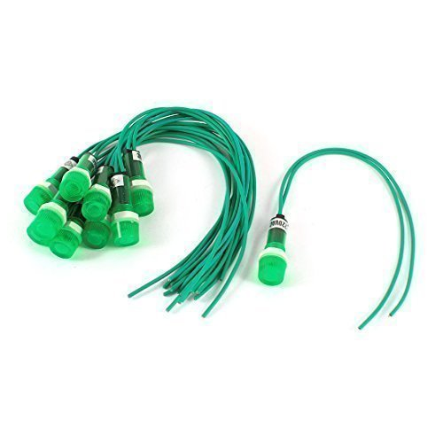 10 Piezas 220V Indicador De Neón Piloto Lámpara De Señal Luz Verde w 2 Pin Cable