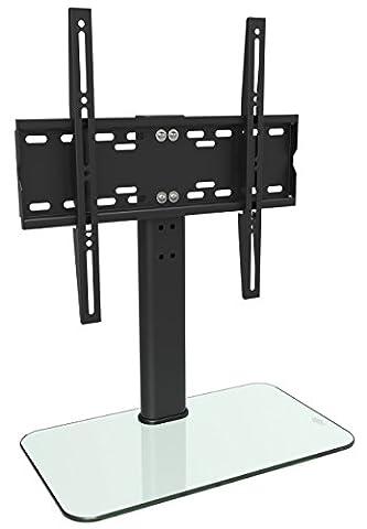 RICOO LCD TV Ständer Fernsehtisch Standfuss Glas Standfuß Halterung FS304W Höhenverstellbar Fernsehstand LED Fernseher Stand Flachbildschirm Aufsatz Möbel Rack VESA 400x400 Tischständer Universal