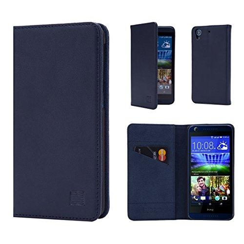 HTC Desire 626 Leder-Mappen-Kasten Entworfen von 32nd®, klassische Echtleder -Entwurf mit Kartensteckplatz und Displayschutzfolie - Navy blau