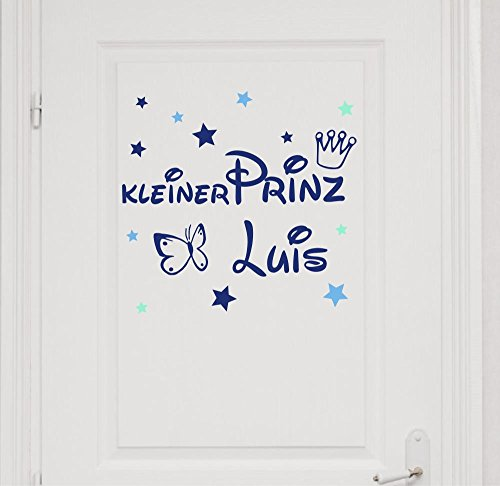 Türaufkleber mit Namen~Kleiner Prinz mit Schmetterling ~ 73008-tricolore-blau, mit bunten Sternen fürs Jungenzimmer, Kinderzimmer Jungen, Wandaufkleber Wandtatoos Sticker Aufkleber für die Wand
