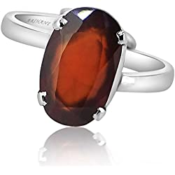 HESSONITE GARNET 9.25 - 9.50 Ratti NATURAL & GJSPC CERTIFIED Hessonite Garnet (Gomed) ASTROLOGICAL GEMSTONE Adjustable SILVER RING By ARIHANT GEMS AND JEWELS