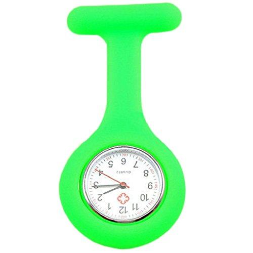 zhouba Cute Silikon Krankenschwester Uhr Brosche Fob Pocket Tunika Quarz-Uhrwerk Armbanduhr