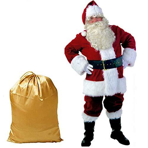 Weihnachtsmann Kostüm Erwachsene Herren, Sehr Schönes Komplettkostüm Für Weihnachten, Half Moon-Brille Mit Weihnachtsmann Professionelle Handschuhe Und Tasche Deluxe Santa Anzug Verdicken 10 - Santa Kostüm Tasche