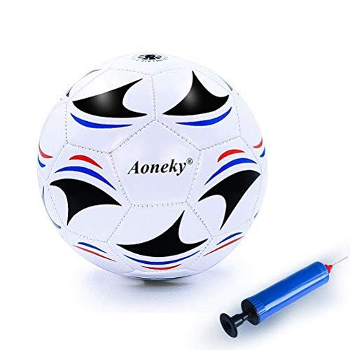 Aoneky Gummi Fußball für Jungen & Kinder, Trainingsfußball, mit Luftpumpe, schwarz/weiß