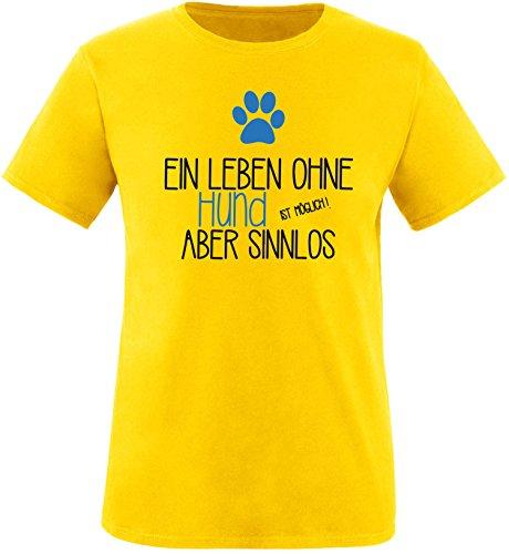 EZYshirt® Ein Leben ohne Hund ist möglich ! Aber sinnlos Herren Rundhals T-Shirt Gelb/Schwarz/Blau