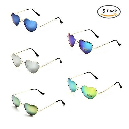 Onnea Herz Sonnenbrille Metall Rahmen Pack für Kinder Damen Sommer (5 Packs blau grün grau)
