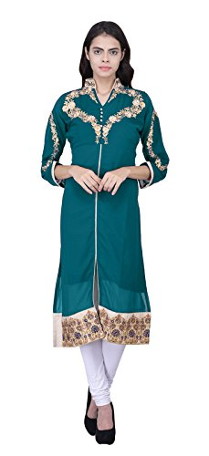 Khushali Presents Embroidered & Embellished Georgette Stitched Kurti.(Turquoise)  available at amazon for Rs.399
