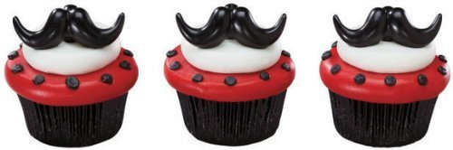 Stache Bash Cupcake Rings Toppers Party Favors by DecoPac ()