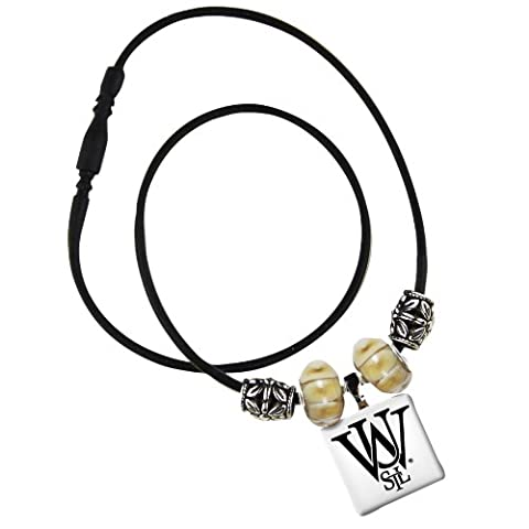 NCAA University of Washington in St. Louis Life Tiles Necklace with Beads