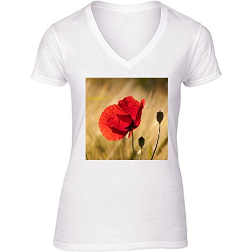 camiseta-blanca-con-v-cuello-para-mujer-tamano-m-amapola-en-un-campo-de-maiz-de-oro-by-utart