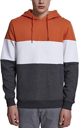 Urban Classics Herren Kapuzenpullover 3-Tone Hoodie, dreifarbiger Retro Color-Block Streetwear Hoody, mit Känguru-Tasche und Kapuze mit Tunnelzug - rust orange/white/charcoal, Größe S (Sweatshirt Hoody Block)