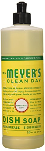 Mrs. Meyers Clean Day Liquid Dishwashing Soap, Honeysuckle, 16 oz 1 pack