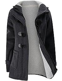 iBaste Winter Mantel Parka Jacke Dufflecoat Zipper mit Kapuze Große Größen