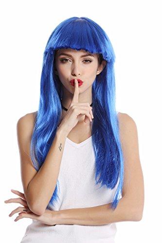 Wig me up ® -1373-pc3 parrucca donna carnevale halloween lunga liscia frangetta blu disco glam