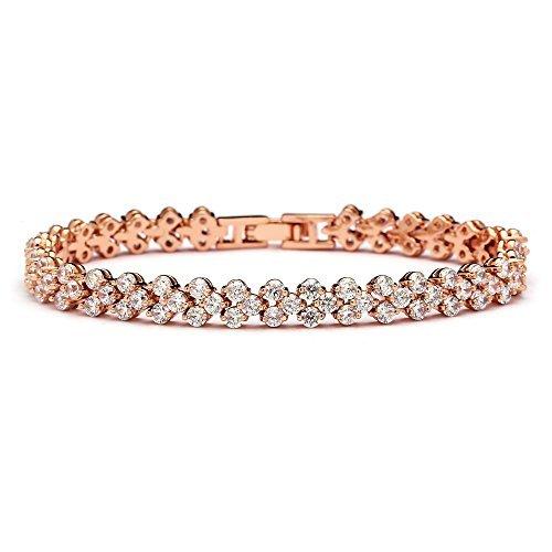 Mariell 14K Rose Gold Vergoldet Cubic Zirkonia Tennis Armband für Hochzeiten, Hochzeiten, Proms & Fashion Jewelry