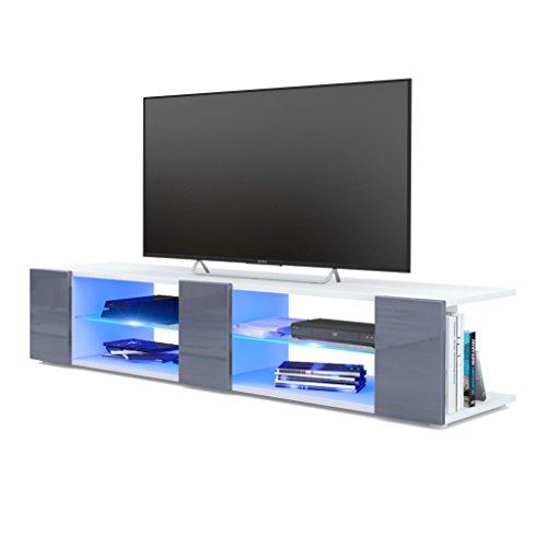Meuble TV Armoire basse Movie V2, Corps en Blanc mat / Façades en Gris haute brillance avec l'éclairage LED en Bleu