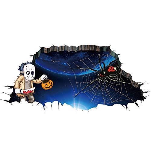 Lumanuby 1x 3D Drucken Halloween Wandbilder Realistisch Kürbis Alien oder Fledermäuse aus der Zerbrochenen Wand oder Fußboden Abnehmbarer PVC Wand Deko für Wohnzimmer Kinderzimmer, Wandtattoo Serie Size size 35.4*23.6 Zoll (Spider und Alien)