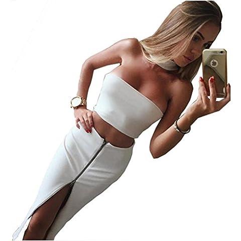 Alaix - Vestido para mujer sin mangas, de dos piezas, con cremallera