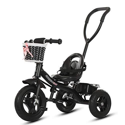 DBSCD Trikes für Kleinkinder, 2 in 1 Kinder Dreirad für Kleinkinder, auf Ride Bike mit Schiebegriff Buggy Kinderwagen, Alter 1-5 Jahre (Schwarz)