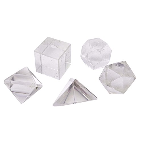 HARMONIZE 5 Stück Kristallplatonischen Körper Chakra Reiki Healing Kristalledelstein Spiritual Heilige Geometrie