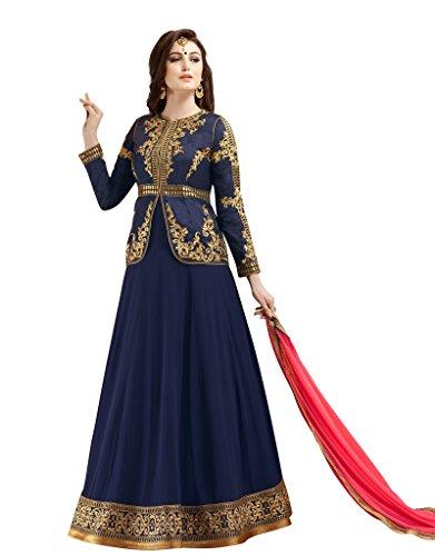 Rivera Sarees Beautiful Banglori Silk Red Anarkali Salwar Kameez