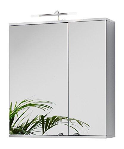 #Kesper Badmöbel Spiegelschrank Elba, 2 Türen, 2x 20 W, Stableuchte, 73 x 65 x 21 cm, alu#