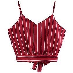 Tuopuda Crop Tops Mujer Verano Camisetas sin Mangas Halter Top Chaleco Camiseta (ES 36=Busto 82-88cm(Talla S), C)