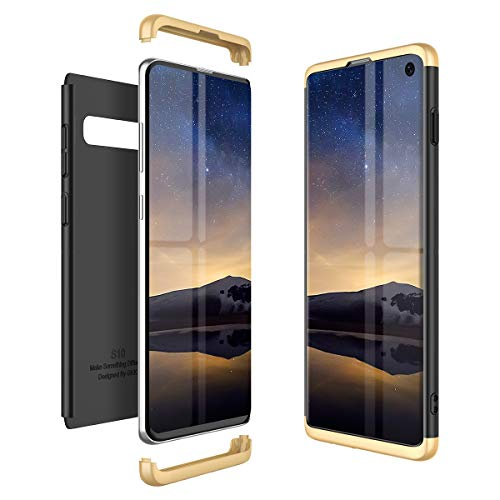 Winhoo Kompatibel mit Samsung Galaxy S10 Hülle Hardcase 3 in 1 Handyhülle 360 Grad Schutz Ultra Dünn Slim Hard Full Body Case Cover Backcover Schutzhülle Bumper - Gold + Schwarz -