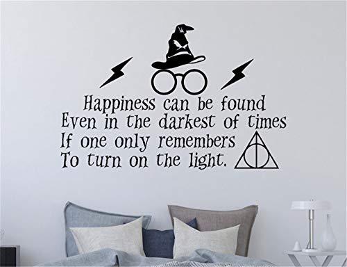 Wandaufkleber Schlafzimmer Harry Potter Wall Decal Zitat Glück gefunden werden kann Harry Potter magische Flash Brille Wand Vinyl Aufkleber für Wohnzimmer (Zitat An Spiegel Magische Der Wand)