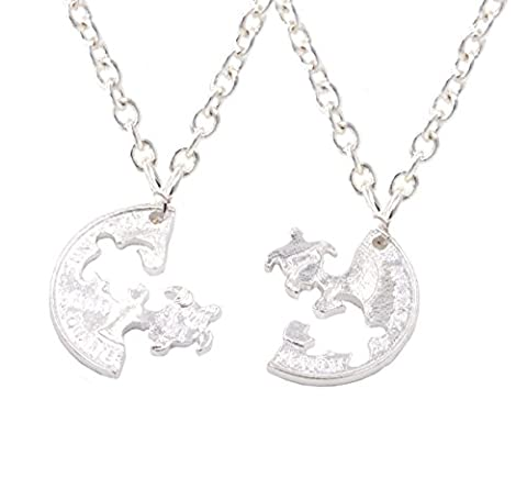 Set of Two Silver Plated Cut-Coin Design Sea Turtle Best