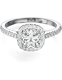 1 CT Diamond Ring Round Cut Classic Solitaire Setting with Sidestones H-I/I1-I2 in 14ct White Gold