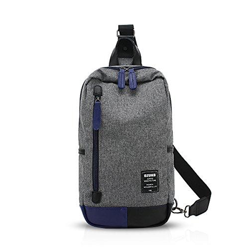 FANDARE Rucksack Sling Bag Umhängetasche Messenger Tasche Schultertasche Reisen Wandern Daypack Crossbag Chest Pack Leicht Polyester Grau