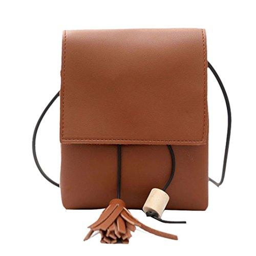 BZLine® Frauen Quaste Wooden Perlen DrawString Umhängetasche Tasche Small Tote Handtasche Braun