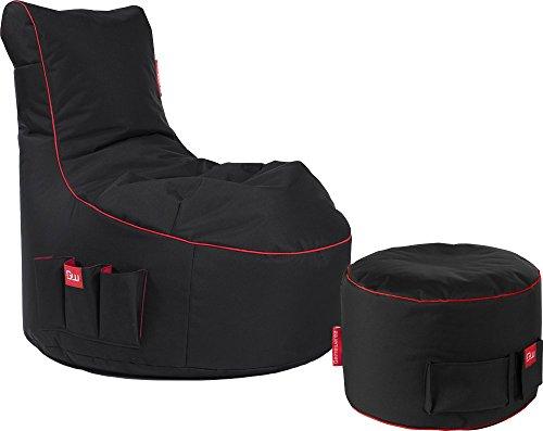GAMEWAREZ Classic Series Crimson Sitzsack Set, Made in Germany. für PS4, XBOX360, XboxOne, Nintendo DS, Nintendo Switch, Smartphone. Schwarz mit rotem Keder und Tasche