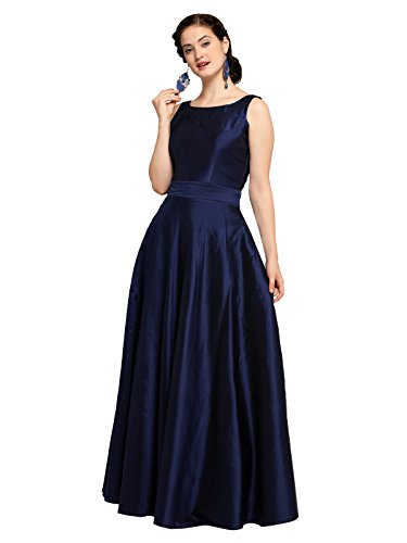 INDDUS Navy Blue Silk/Tafeta Flared Solid Long Maxi Dress for Women, Sleevesless, Evening & Party Wear, Round Neck (Fully Stitched, Size-L)